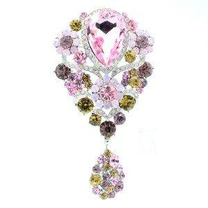Chic Dangle Flower Brooch Broach Pin W/ Pink Rhinestone Crystals 6024