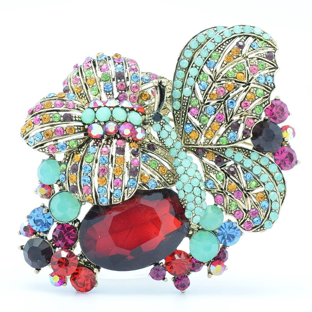 VTG Style Sparkling Butterfly Brooch Pin Mix Rhinestone Crystal Insect 6407