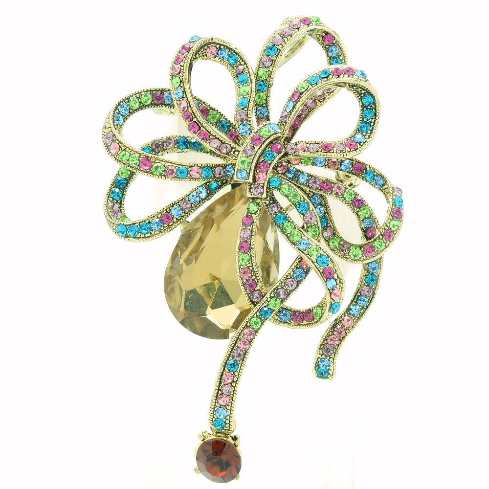 VTG Style Flower Bowknot Brooch Pins Mix Rhinestone Crystal Women's Jewelry 6414