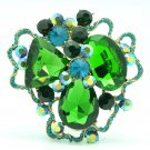 Vivid Green Cloud Flower Brooch Hat Pin Party Jewelry Rhinestone Crystal 8806457