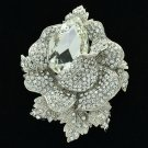 Wedding Rose Flower Pendant Brooch Broach Pin Clear Rhinestone Crystals 5840