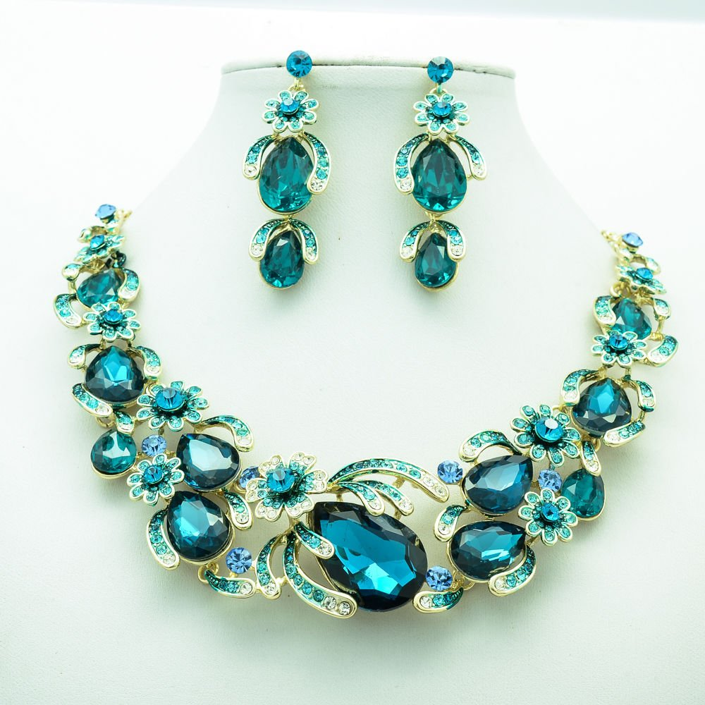 Chic Flower Necklace Earring Set Green Rhinestone Crystals Women's Jewelry 5396
