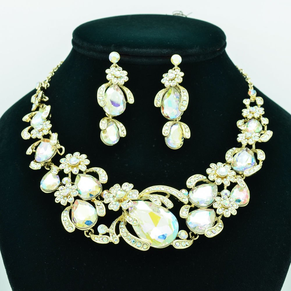 Chic Flower Necklace Earring Sets Rhinestone Crystals Jewelry Accessories 5396