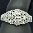 Bridal Wedding Clear Flower Bracelet Bangle Silver Tone Rhinestone Crystals 9550
