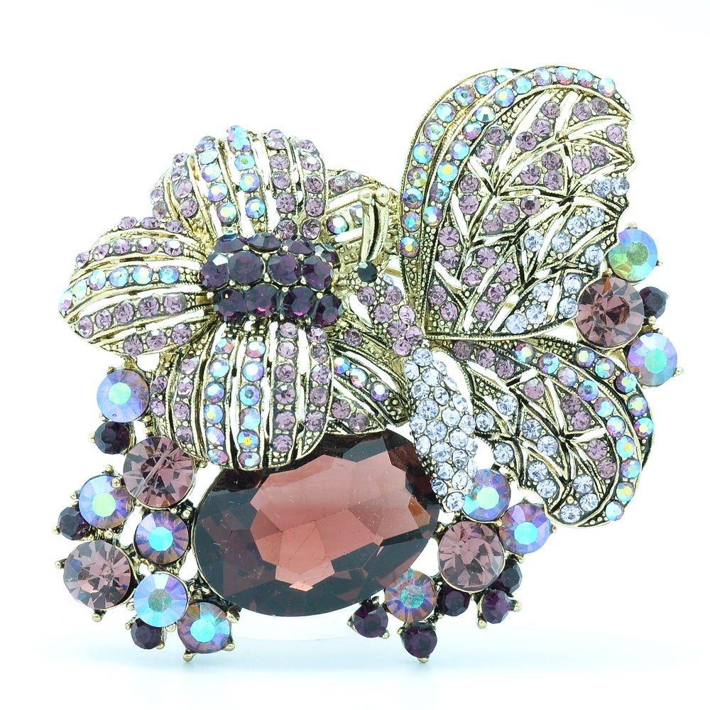 Cute Purple Butterfly Brooch Broach Pin for Women Rhinestone Crystal Insect 6407