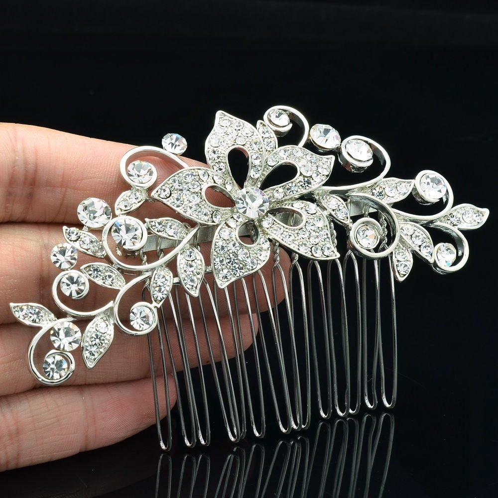 Chic Bridesmaid Flower Hair Comb Tiaras Rhinestone Crystal Women's Jewelry 2235R