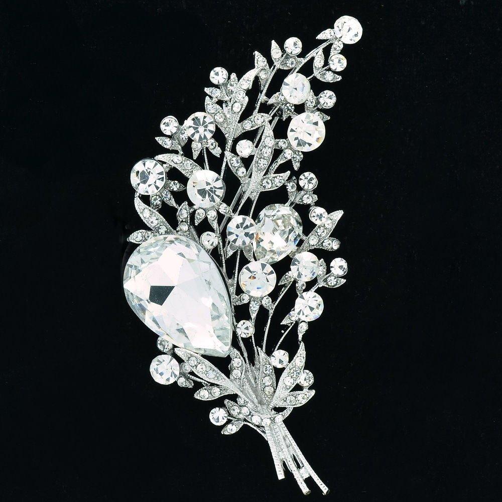 Vogue Leaf Flower Brooch Pin Rhinestone Crystal Bridal Wedding Prom Jewelry 6448