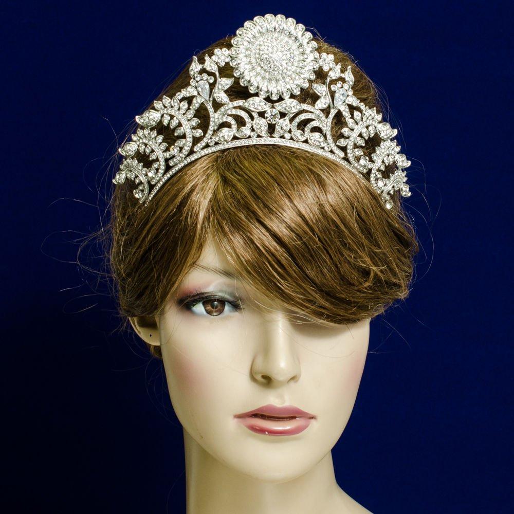 Hi-Q Rhinestone Crystal Sunflower Leaves Tiara Crown Wedding Party Jewelry 5361R