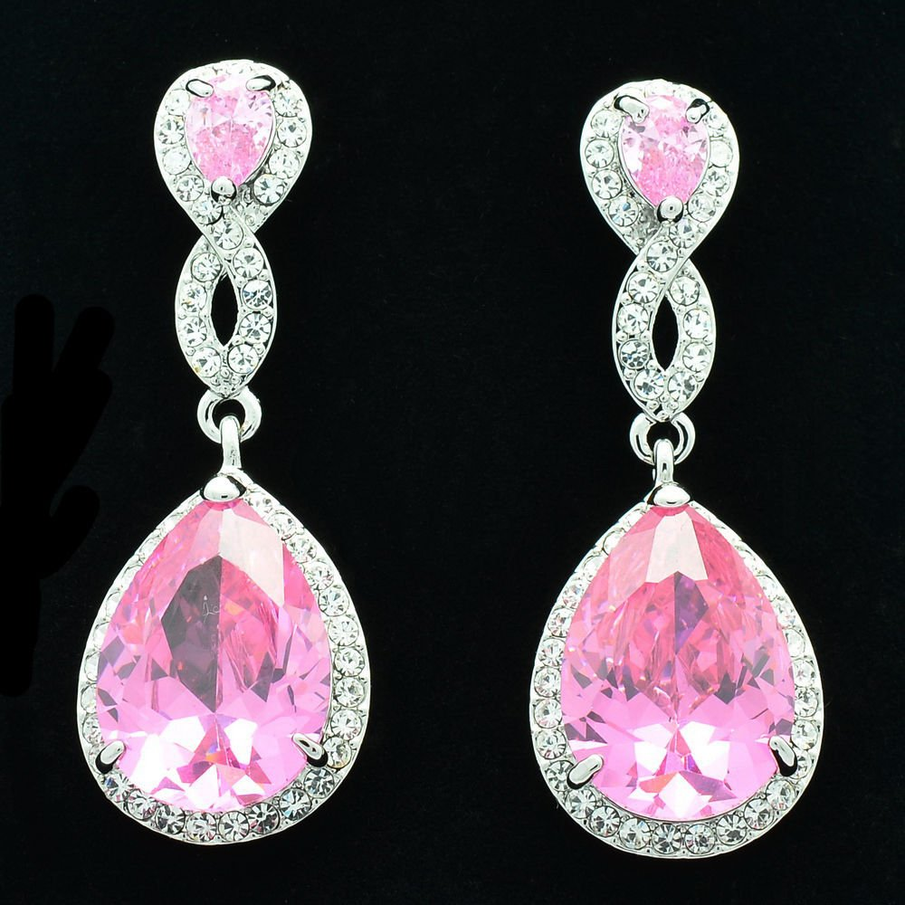 Charming Pink Zircon Rhinestone Crystals Dangle Drop Earring For Women 20621