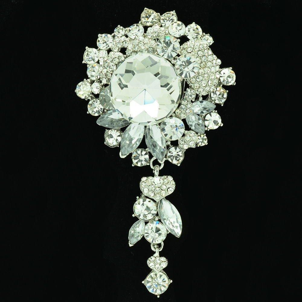 Chic Flower Brooch Pin Pendant Bridal Bridesmaid Jewelry Rhinestone Crystal 6446