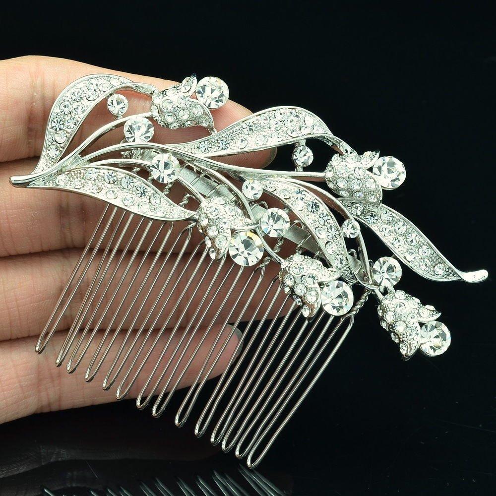 Bridal Leaves Bud Hair Comb Tiara Headband Rhinestone Crystal Jewelry 2237R