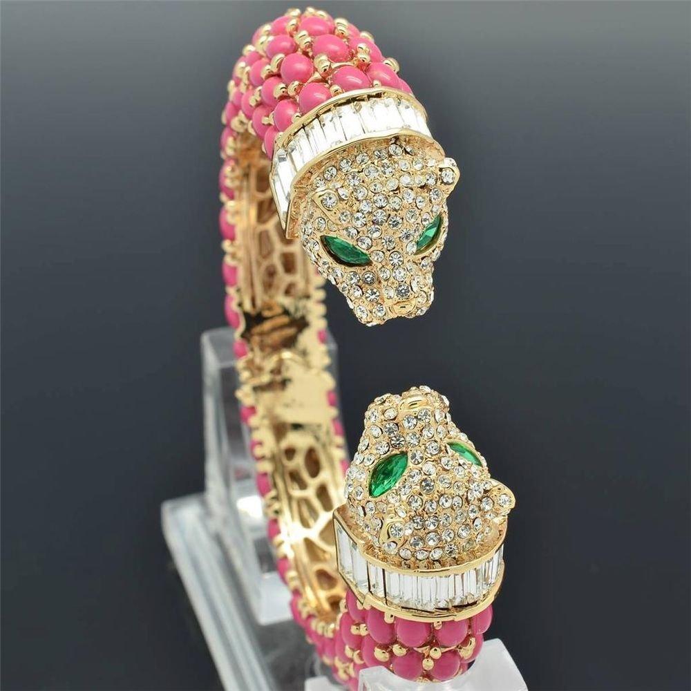 Pink Acrylic 2 Leopard Panther Bracelet Bangle Cuff Rhinestone Crystals 00988