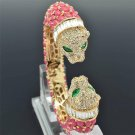 Pink Acrylic 2 Leopard Panther Bracelet Bangle Cuff Rhinestone Crystals 00988
