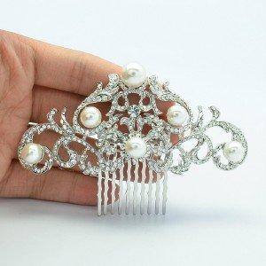 Vintage Bridesmaid Bridal Flower Faux Pearl Hair Comb Rhinestone Crystals 2937FS