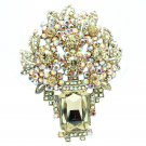 Attractive Leaf Flower Brooch Pin Pendant Brown Rhinestone Crystals Oblong 6411