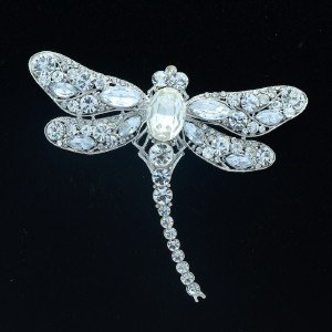 "Cute Animal Clear Dragonfly Brooch Pin 3.7"" w/ Rhinestone Crystals"