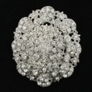 "Wedding Bridal Clear Rhinestone Crystals Roud Fower Brooch Pin 2.7"" 3808"