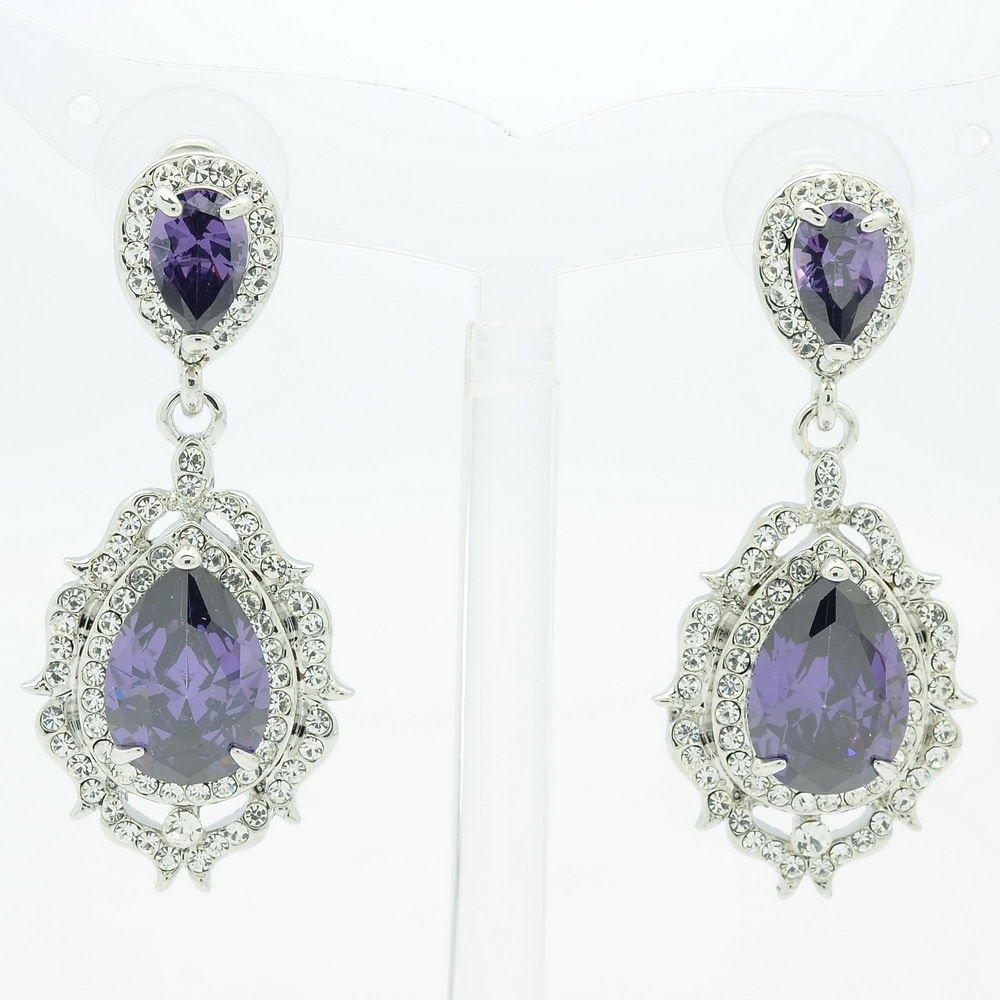 Cute Drop Dangle Flower Pierced Earring Purple Zircon Rhinestone Crystals 20671