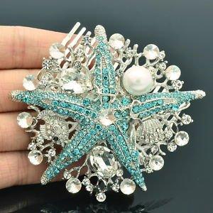 Bridesmaid Pearl Blue Starfish Hair Comb Wedding Jewelry Rhinestone Crystal 6412