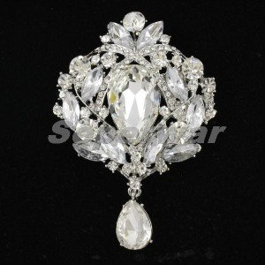 "5pcs Swarovski Crystal Gorgeous Pretty Clear Flower Brooch Pin 3.5"" Wholesale"