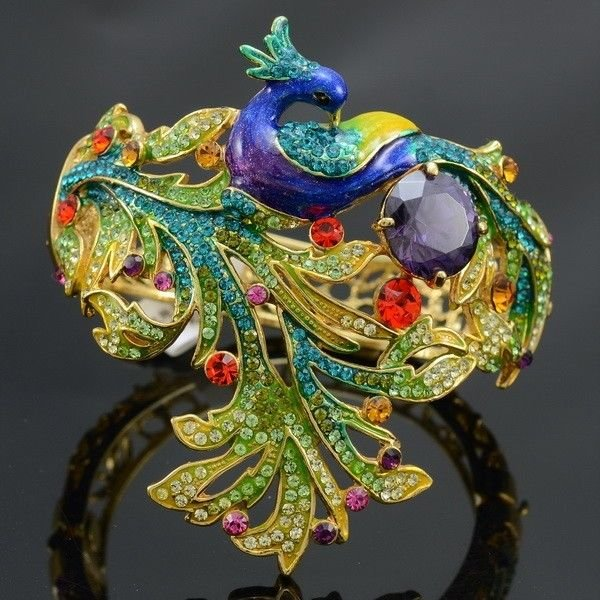 Excellent Peafowl Peacock Bracelet Bangle with Swarovski Crystals SKC1612