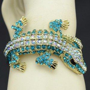Women Crocodile Alligator Animal Bracelet Bangles Cuff Blue Rhinestone Crystal