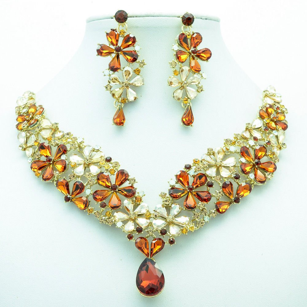 Gorgeous Drop Flower Necklace Earrings Jewelry Set Brown Rhinestone Crystal 6098