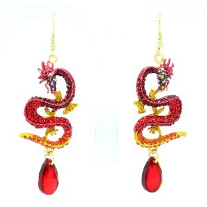 Rhinestone Crystals Holy Chinese Dangle Pierced Red Dragon Earring