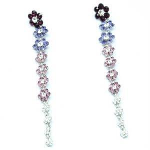 Trendy Dangle Cute Purple Long Flower Pierced Earring Rhinestone Crystals 88322