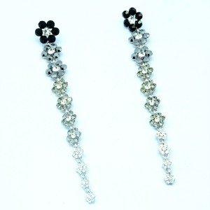 Rhinestone Crystals Cute Black Long Flower Pierced Earring Dangle 88322
