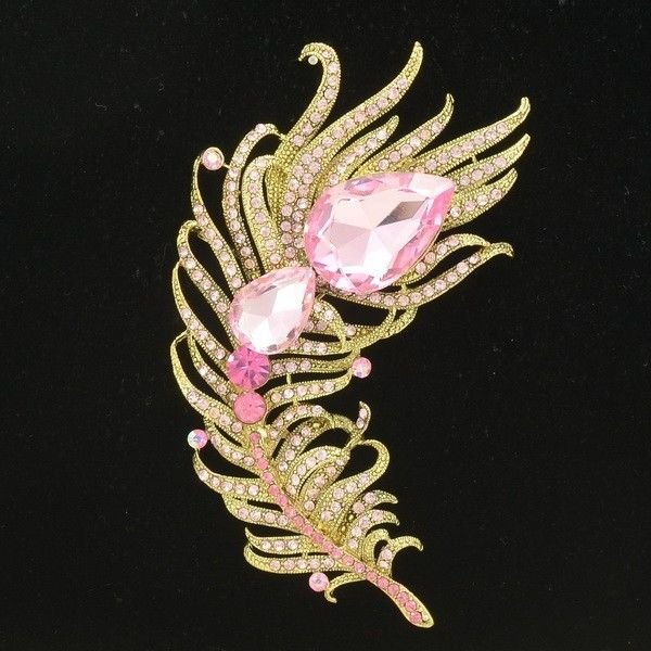 Pink Drop Peacock Feather Brooch Broach Pin Women Party Rhinestone Crystals 5038
