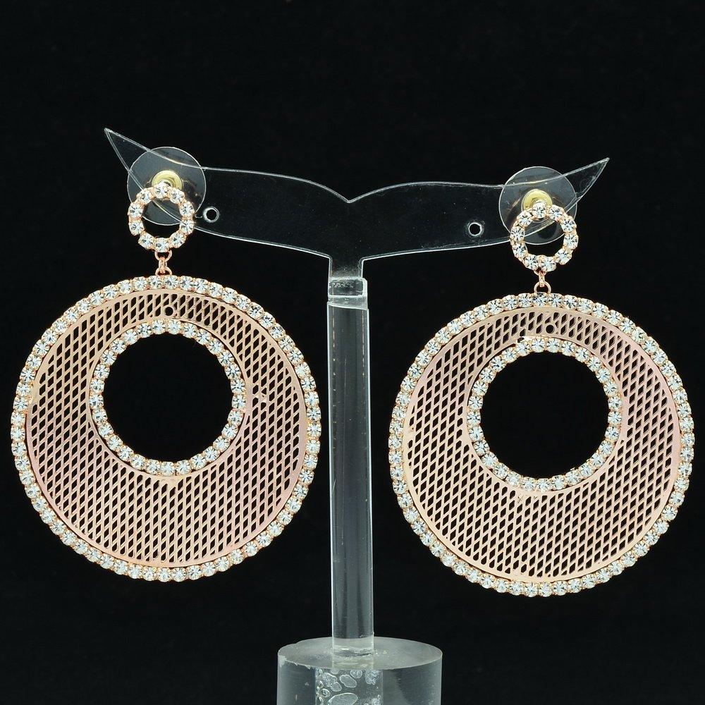 Rhinestone Crystals Copper Round Donut Cutout Pierced Drop Earring Jewelry 27675