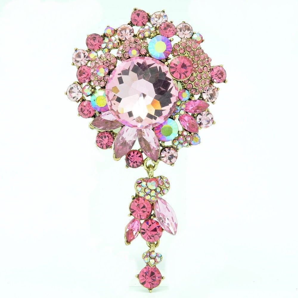 Rhinestone Crystals Pink Circle Flower Brooch Hat Pin Pendant Women Jewelry 6446