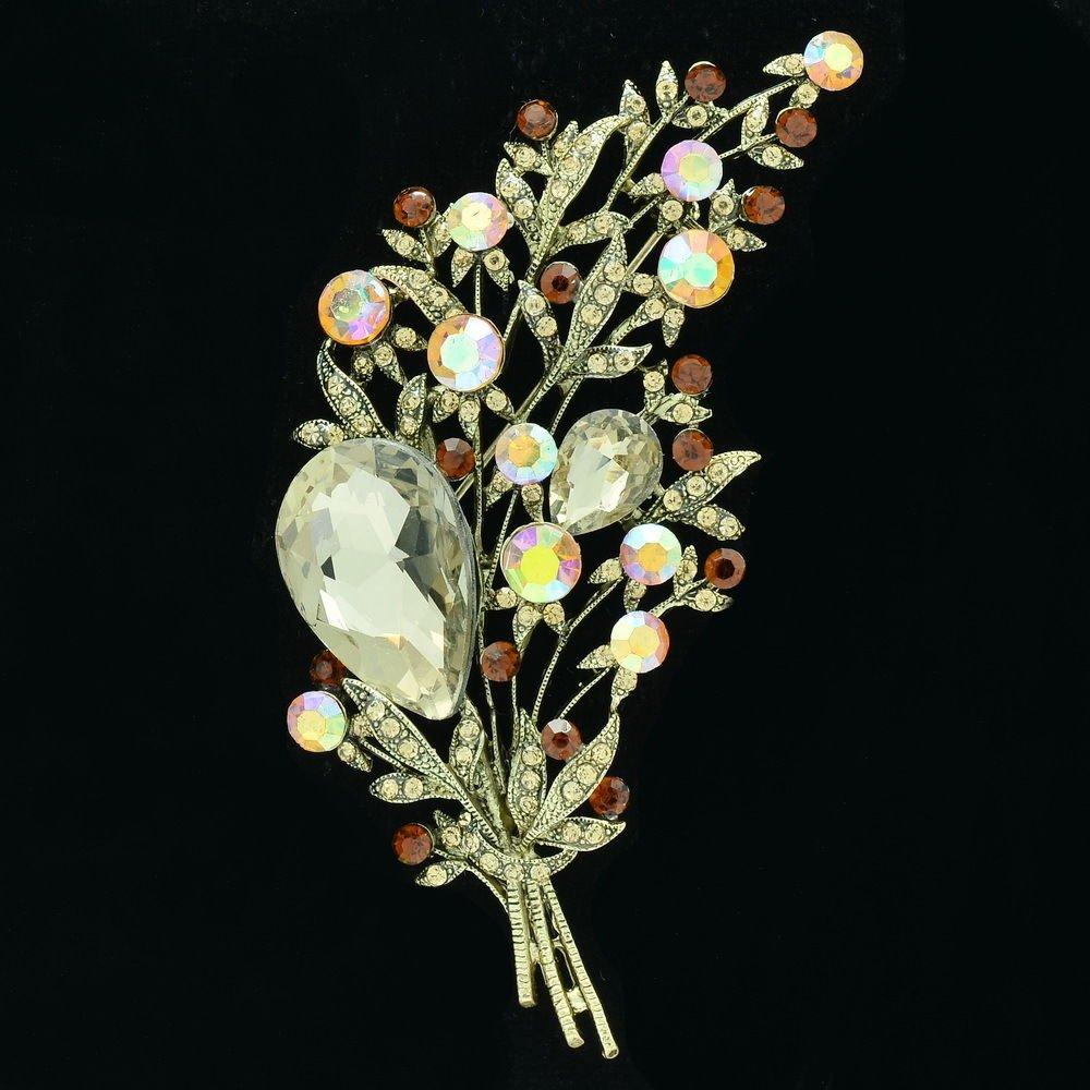 Vintage Rhinestone Crystals Brown Leaf Flower Brooch Pin Women Jewelry Prom 6448