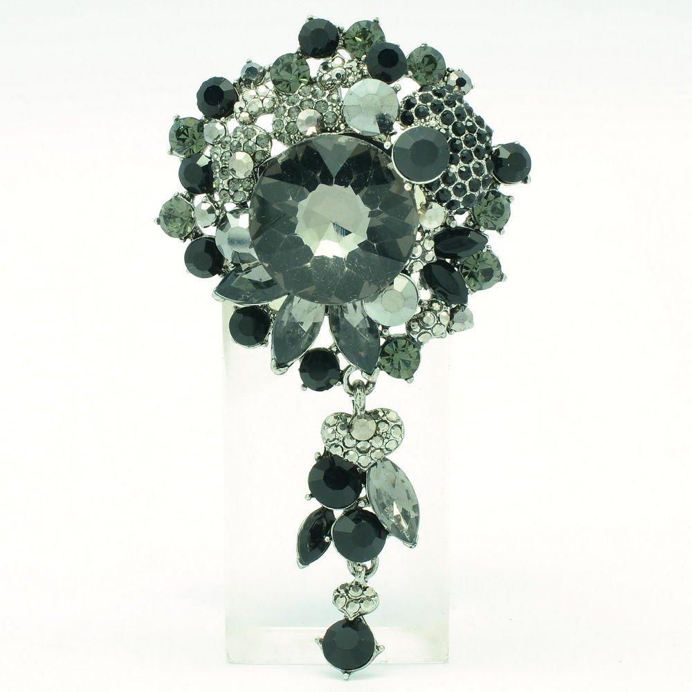 Rhinestone Crystal Circle Flower Costume Brooch Pin Women's Jewelry Pendant 6446