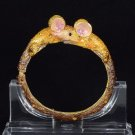 Dazzling Enamel Animal Mouse Bracelet Bangle Cuff W/ Brown Swarovski Crystals