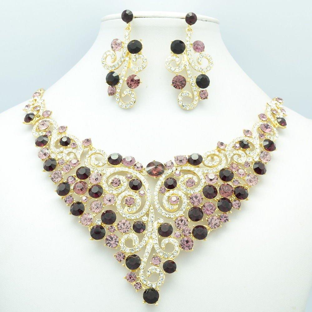 Grape Purple Rhinestone Crystal Flower Necklace Earring Set Women Jewelry L00621