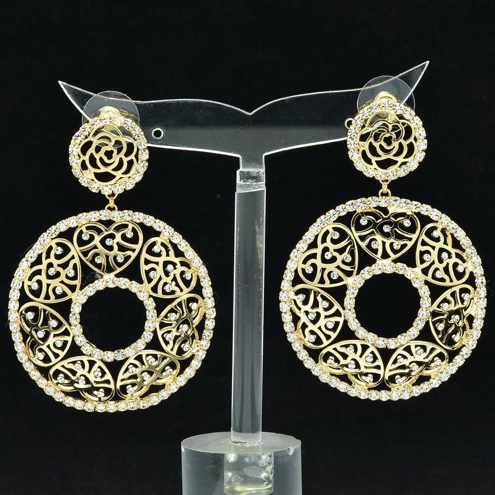 Rhinestone Crystals Gold Hearts Round Cutout Pierced Earring Women Jewelry 27669