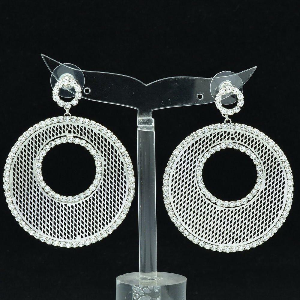 Sliver Round Donut Cutout Pierced Drop Earring Rhinestone Crystal Jewelry 27675