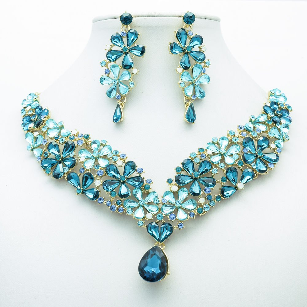 Gorgeous Drop Flower Necklace Earrings Jewelry Set Blue Rhinestone Crystal 6098