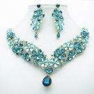 Gorgeous Drop Flower Necklace Earrings Jewelry Set Blue Rhinestone Crystal 6098