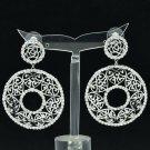 Clear Heart Round Cutout Pierced Earring Rhinestone Crystals Women Jewelry 27669