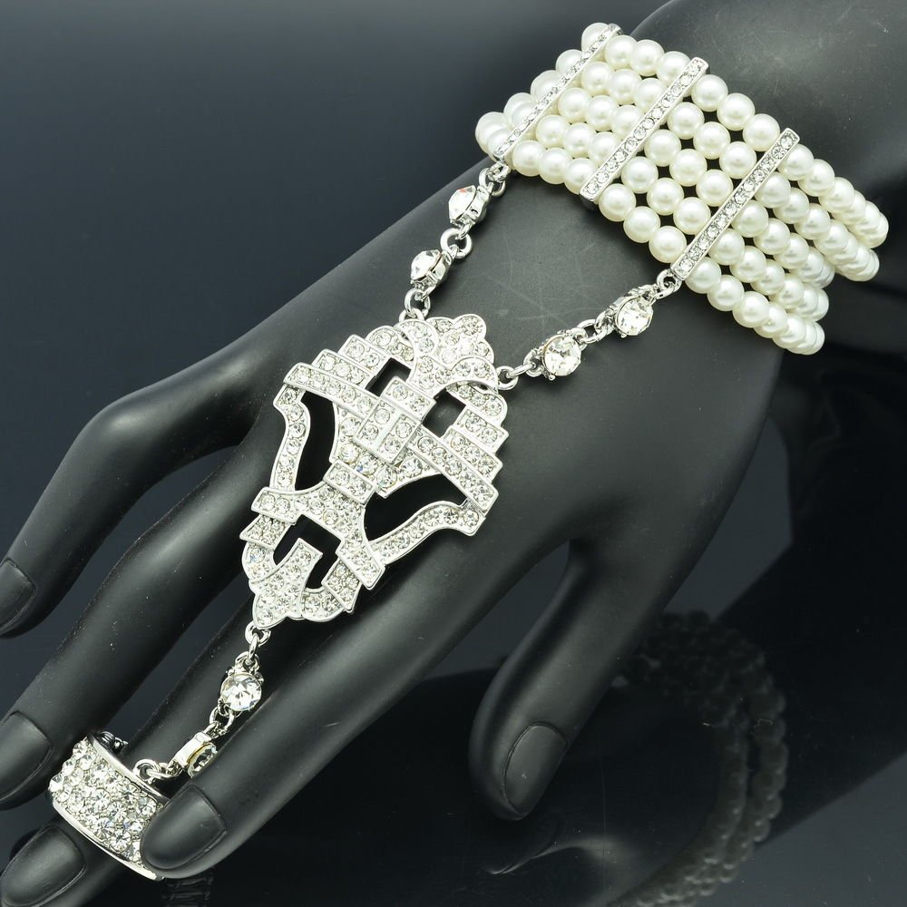 Rhinestone Crystals Faux Pearls Stretch Wedding Bracelet Ring Sets For Gift 9726