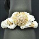 Swarovski Crystals Trendy Enamel White Froggy Frog Bracelet Bangle Jewelry 2093l