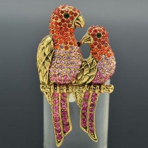 Pretty Red Swarovski Crystals 2 Birds Parrots Ring Adjustable Animal