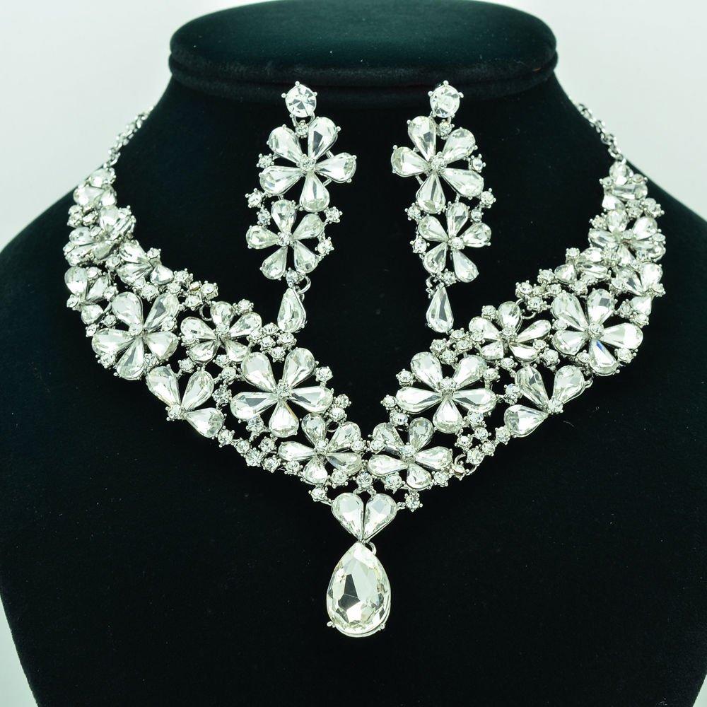 Wedding Bridal Flower Necklace Earring Jewelry Set Clear Rhinestone Crystal 6098