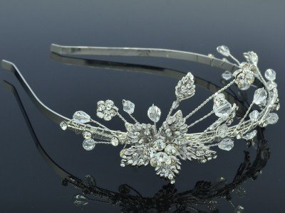 Princess Wedding Cute Clear Flower Hair Headband Jewelry w/ Swarovski Crystals