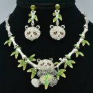 Silver Panda Bamboo Necklace Earring Set W/ Rhinestone Crystals
