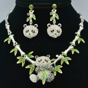 Silver Panda Bamboo Necklace Earring Set W/ Rhinestone Crystals
