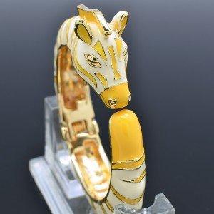 Fabulous Enamel Yellow Horse Zebra Bracelet Cuff Bangle Animal for Women Party